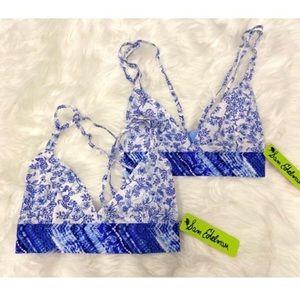 Sam Edelman   Blue Contrast Pattern Bralette